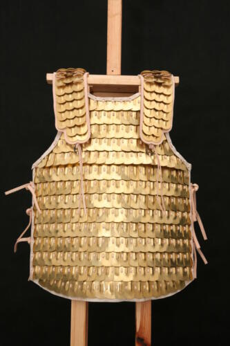 Brass scale armour with boss